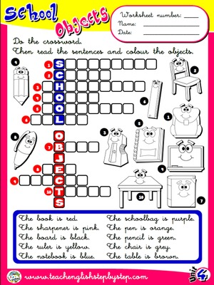 School Objects - Worksheet 8
