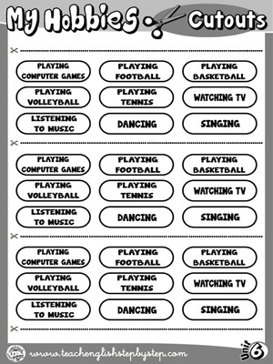 Hobbies - Picture Dictionary Cutouts (B&W version)
