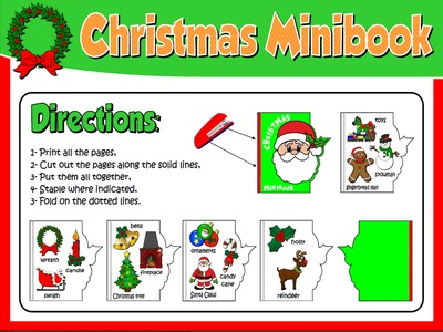 CHRISTMAS  VOCABULARY MINI BOOK (DIRECTIONS)