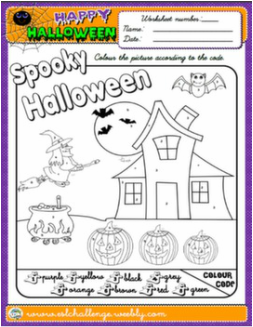 HALLOWEEN COLOURING WORKSHEET