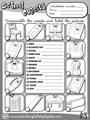 School Objects - Worksheet 3 (B&W version)