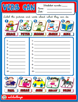 VERB CAN WORKSHEET