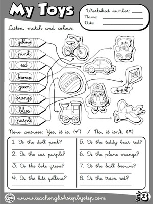 My Toys - Worksheet 7 (B&W version)