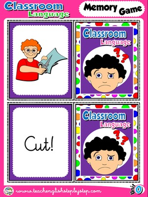 Classroom Language - Memory Game  Cards (Picture - Word)