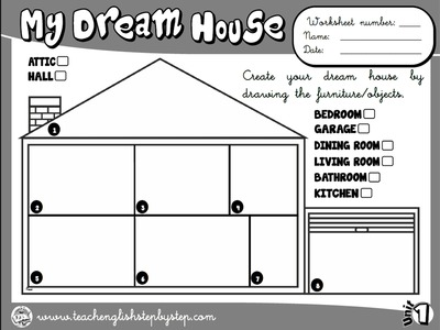 My House - Worksheet 8 (B&W version)