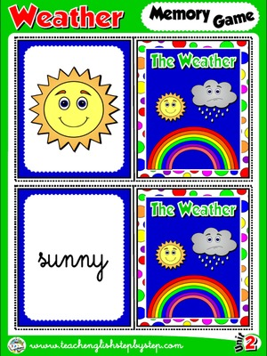 The Weather - Memory Game Cards (Picture - Word)