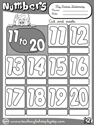 Numbers (11 to 20) - Picture Dictionary (B&W version)