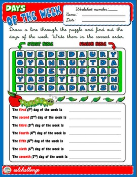 DAYS OF THE WEEK WORKSHEET #
