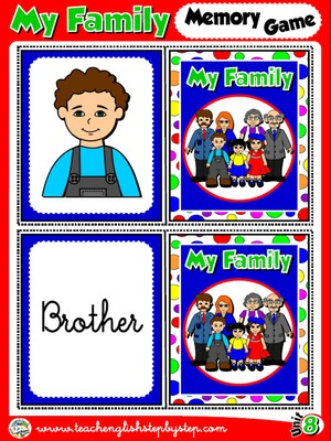 My Family - Memory Game Cards (Picture - Word)