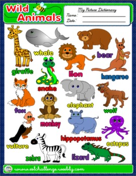 WILD ANIMALS PICTURE DICTIONARY AVAILABLE IN B&W