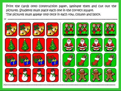 CHRISTMAS  SUDOKU GAME (CARDS CUTOUTS)