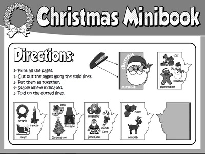 CHRISTMAS  VOCABULARY MINI BOOK (DIRECTIONS - B&W VERSION)