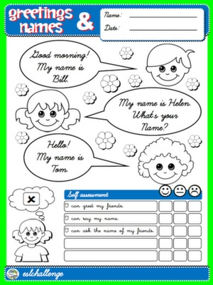 #GREETINGS AND NAMES - COVER + SELF ASSESSMENT FOR GIRLS