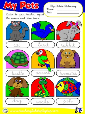 My Pets - Picture Dictionary
