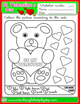 VALENTINE'S DAY COLOURING WORKSHEET 2#