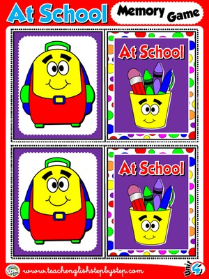 At School - Memory Game Cards (Picture - Picture)