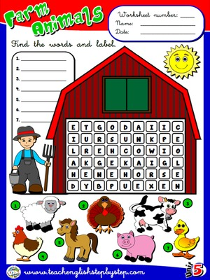 Farm  Animals - Worksheet 1