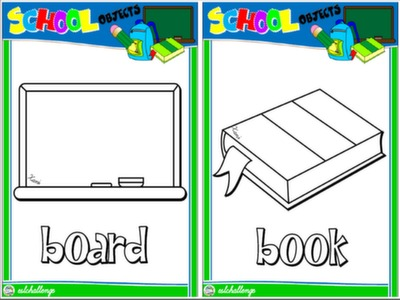 CLASSROOM OBJECTS - FLASHCARDS (B&W VERSION) #