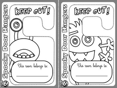 Monster - Door Hangers (B&W version)