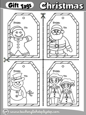 CHRISTMAS GIFT TAGS - SET 1 (B & W VERSION)