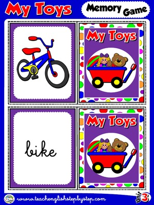My Toys- Memory Game Cards (Picture - Word)
