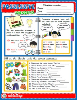 POSSESSIVE PRONOUNS - STUDY WORKSHEET + EXERCISES