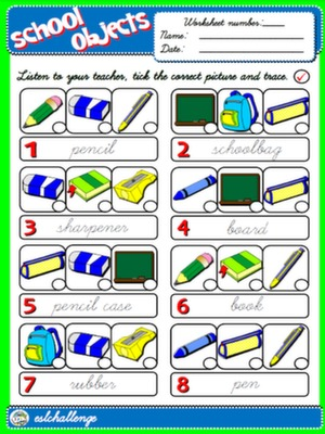 CLASSROOM OBJECTS - WORKSHEET 3 #