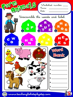 Farm  Animals - Worksheet 2