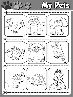 My Pets - Worksheet 2 (B&W version - cutouts)