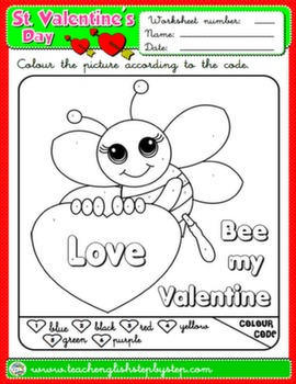 VALENTINE'S DAY COLOURING WORKSHEET 3#
