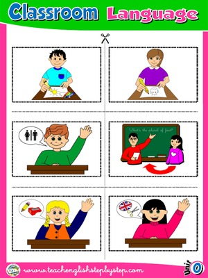 Classroom Language - Picture Dictionary Cutouts - page 1