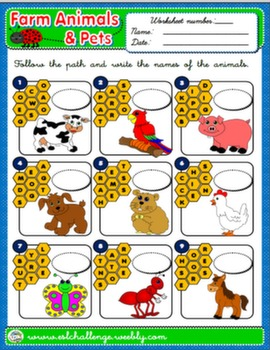 FARM ANIMALS & PETS WORKSHEET