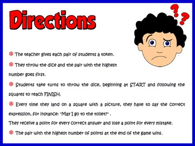 Classroom Language - Board Game Directions