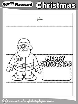 CHRISTMAS POP-UP PLACEMENT CARD (B & W VERSION)