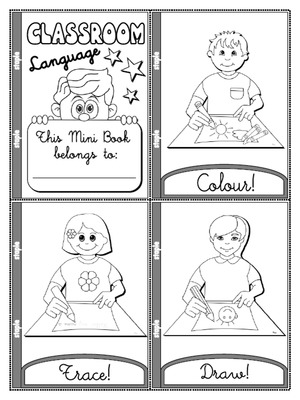 Classroom Language - Colouring Mini Book