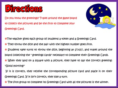 Greetings and names - Board Game (Directions)