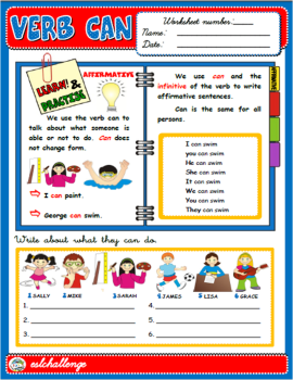 VERB CAN - STUDY WORKSHEET + EXERCISES ( AFFIRMATIVE)