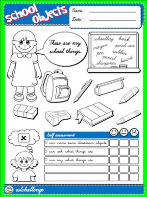 CLASSROOM OBJECTS - COVER + SELF ASSESSMENT FOR GIRLS#