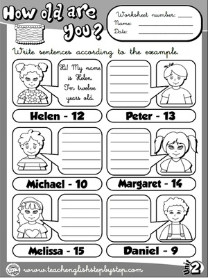 Age - Worksheet 3 (B&W version)
