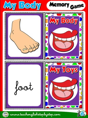 My Body - Memory Game Cards (Picture - Word)