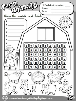 Farm  Animals - Worksheet 2 (B&W version)