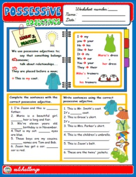 POSSESSIVE ADJECTIVES - STUDY WORKSHEET + EXERCISES