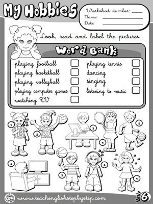 Hobbies - Worksheet 1 (B&W version)