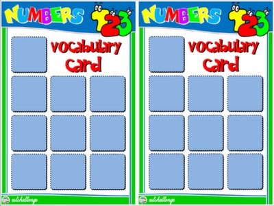 NUMBERS - BOARD GAME - VOCABULARY CARDS#