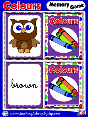 Colours - Memory Game Cards (Picture - Word)