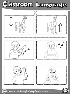 Classroom Language - Picture Dictionary Cutouts - page 2 (B&W version)
