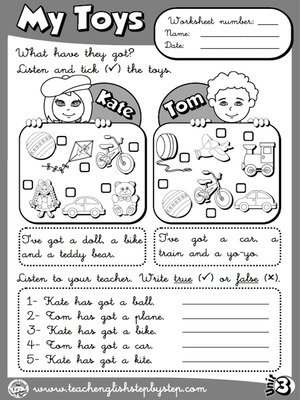 My Toys - Worksheet 2 (B&W version)