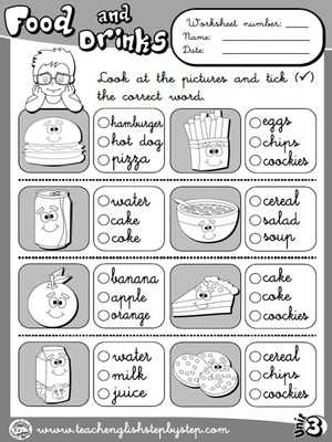 Food and Drinks - Worksheet 3 (B&W version)