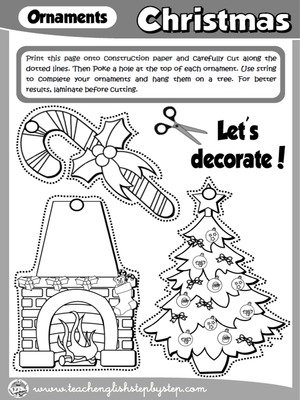 CHRISTMAS ORNAMENTS - CRAFTS ACTIVITY (B & W VERSION)