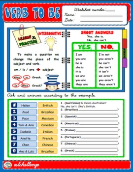 VERB TO BE - STUDY WORKSHEET (INTERROGATIVE)